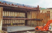 The near completed view of the 82 total I-beams installed