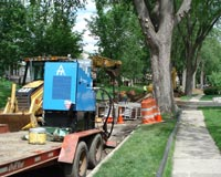Trenchless Pipe Bursting was chosen to minimize disruption.