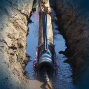 Trenchless pipe installation using the slick-bore method.
