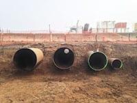 A total of five casing installations were completed for the Surmont project, a 36-inch culvert for drainage and a series of casing sleeves, including two 52-inch casings, one 42-inch casing and one 24-inch casing, side-by-side under the highway.