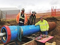 Ramming tools, in general, are capable of installing 4- through 144-inch diameter pipe and steel casings. At 24 inches in diameter, the Grundoram Taurus, which Neptune Coring used, is one of the world's largest pipe rammers.