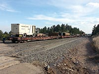 Because of the remote location all of the equipment and crews traveled on work trains to reach bore sites.