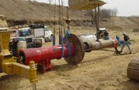 Two pipe rammers were used on the project. The 24-inch diameter Grundoram Taurus started the project then moved to another jobsite. The 32-inch diameter Grundoram Apollo was brought in to finish the job.