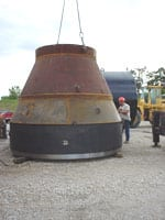 To facilitate the ramming of such an enormous casing, Miller the Driller had an inverted bell ramming adapter fabricated by Arntzen Steel, Rockford, Ill. The 147-inch reduced the overall diameter to 80 inches. An 80-inch ram cone and a 24-inch ram cone made were added to make the connection to the Grundoram Taurus.