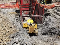 The ramming pit for the Nicor ramming extraction project measured approximately 65 feet in length and almost 40 feet deep.
