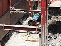 For the project crew used a 24-inch diameter Grundoram Taurus pneumatic pipe rammer.
