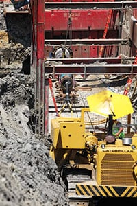 To limit the bounce back effect, crew used a block and tackle system. A winch line attached to a D-8 dozer provided the tension needed for ramming operations to be most effective.