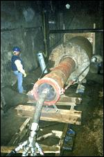 In order to rescue the trapped TBM, the Taurus rammed 77 feet of 72-inch casing in. Ramming times were very good, averaging 15 to 20 minutes per 20-foot section.