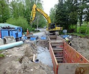 The Maple Ridge pipe bursting project included significant upsizes. PW Trenchless crews burst and replaced several sections of 15-inch PVC with 28-inch HDPE and additional sections with 34-inch HDPE.